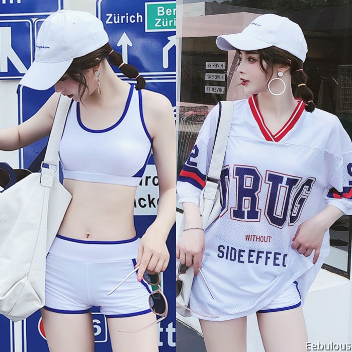B001 3 PIECES SWIMWEAR WITH OUTER SHIRT