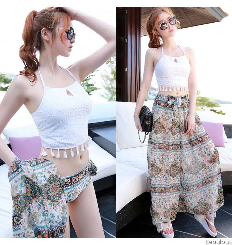 B320 3 PIECES LACE SWIMWEAR WITH DOUBLE LAYER LONG LACE CULOTTES
